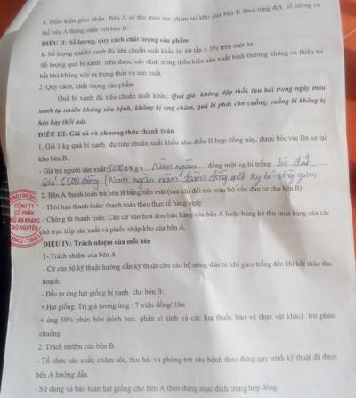 Bản hợp đồng bất lợi từ phía công ty CP Phú An Khang Tây Nguyên ký kết với người dân
