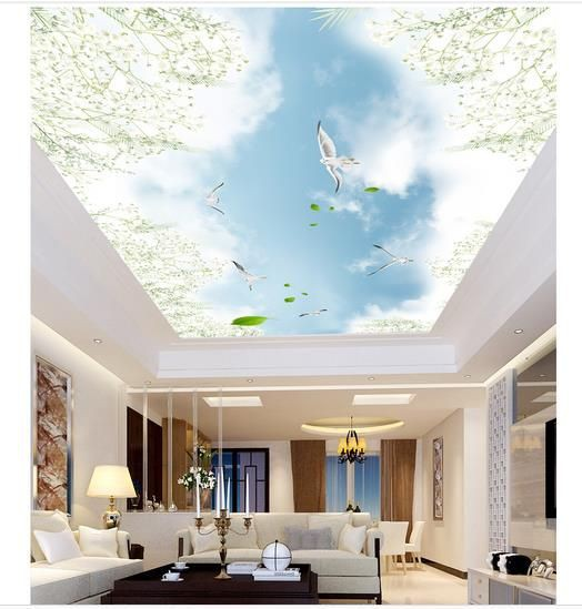 Trần nhà được trang trí tranh 3D không những không bị giới hạn bởi không gian mà còn tạo độ sâu, mở ra cả một bầu trời sáng ngời xanh ngắt, khiến cho căn phòng trở nên rộng rãi, sáng sủa.