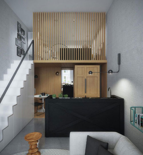 Nhờ lợi thế trần cao nên không gian nghỉ ngơi được đưa lên gác xép nhường lại phần diện tích bên dưới cho bếp, bàn ăn và khu vệ sinh.