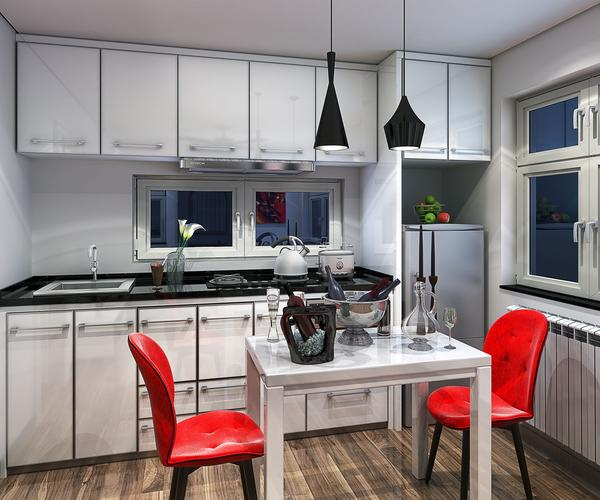 Khu bếp và bàn ăn sạch sẽ, rộng thoáng nổi bật với hai chiếc ghế màu đỏ tươi.