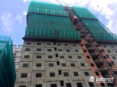 Hai block tại dự án Đạt Gia Residence vẫn chưa hoàn thiện xong phần thô.