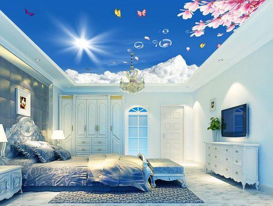 Cùng với hiệu ứng ánh sáng của hệ thống đèn led, trần nhà 3D thực sự tạo ra không gian khác lạ và độc đáo cho căn phòng ngủ nhỏ.