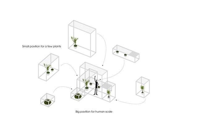 Ở những độ cao khác nhau, các chậu cây hình lập phương 200x200x200mm được treo lơ lửng xung quanh để phân bố sự lọc khí tới mọi ngóc ngách của pavilion