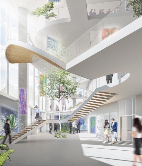 Các không gian được kết nối theo chiều dọc, cung cấp chức năng như một khu phố riêng lẻ ở mỗi tầng.
