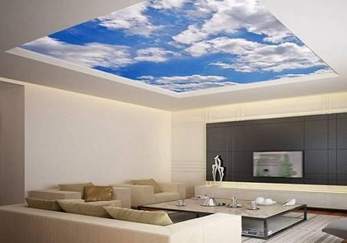 Đám mây xanh trôi bồng bềnh nơi phòng khách sẽ mang lại cảm giác nhẹ nhàng, thư giãn cho chủ nhà.