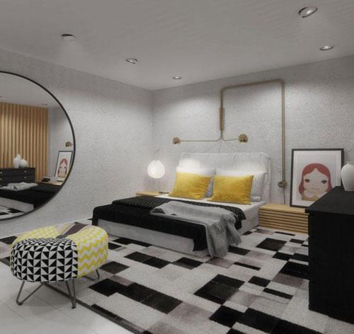 Phòng ngủ trên gác xép không quá rộng nhưng rất thoáng sáng do chủ nhà biết bố trí nội thất và sử dụng không gian hợp lý.