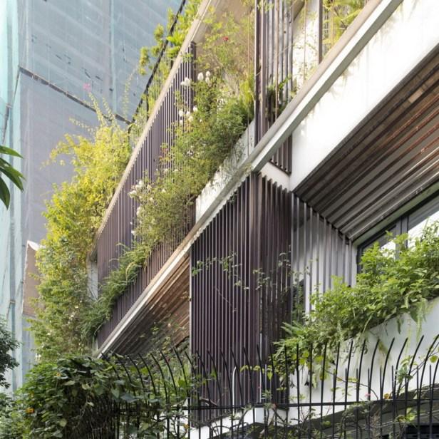 Không chỉ có cây xanh mà trên các tầng chủ nhân cũng trồng rất nhiều loại hoa tạo hương thơm mát cho toàn bộ ngôi nhà.