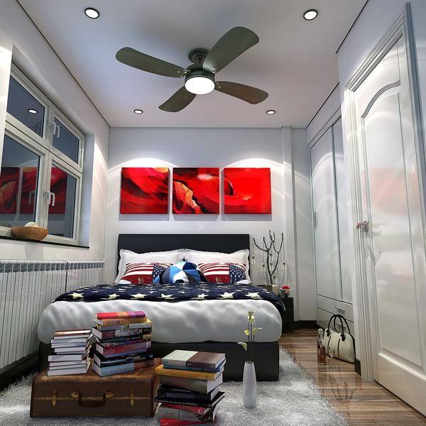 Phòng ngủ không lớn nhưng sang trọng và đẹp với sự kết hợp hài hòa giữa các tông màu đen-đỏ-trắng.