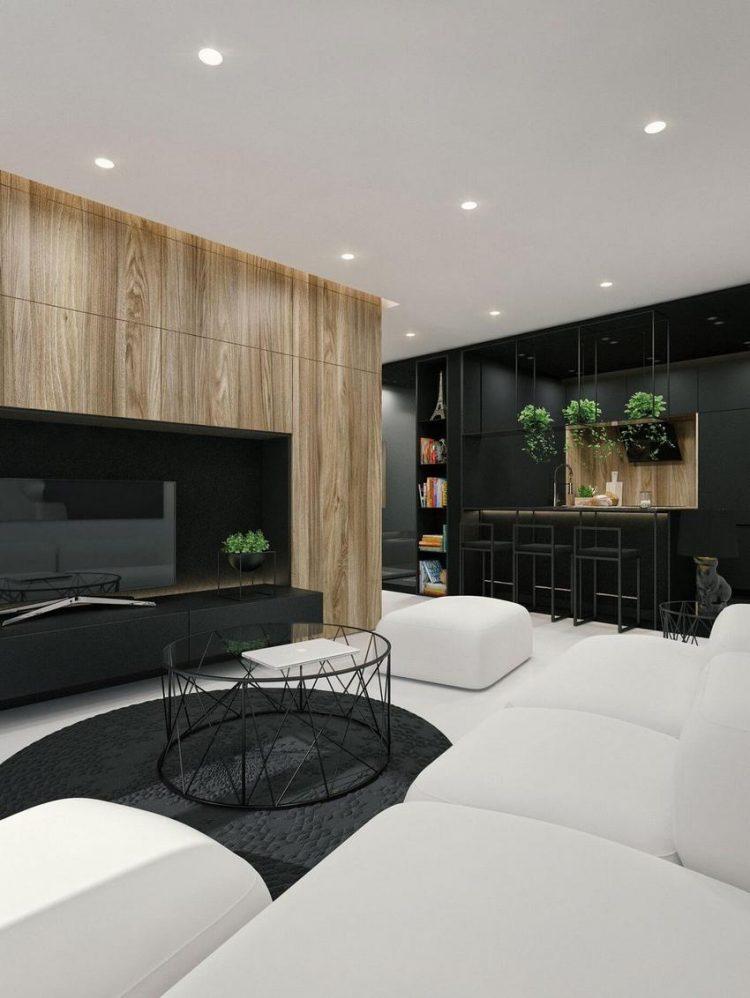 Không chỉ gây ấn tượng đặc biệt bởi 2 tông màu đối lập đen-trắng, sự xuất hiện của cây xanh và hệ tủ gỗ nơi phòng khách càng làm cho không gian trở nên nổi bật hơn.