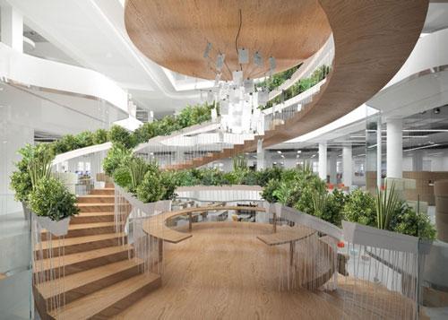 Thêm không gian xanh cho ngôi nhà của bạn với mẫu cầu thang lượn đẹp mắt có lan can là bồn trồng cây xanh.