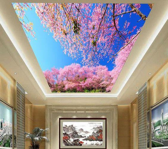 Cả căn phòng như tràn ngập tràn sắc xuân nhờ hình ảnh sống động như thật của trần nhà 3D.