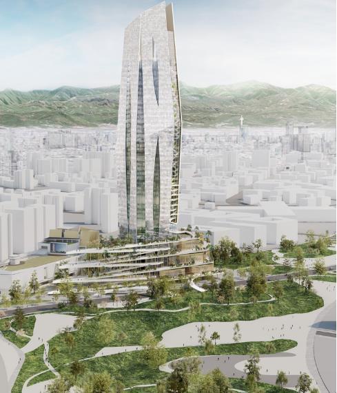 Bắt đầu từ tầng trệt, hành lang ngoài trời, một lối đi bộ sẽ chạy quanh ba tầng đầu tiên của tòa tháp.