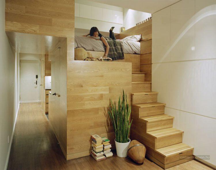 Góc nghỉ ngơi lý tưởng được đưa lên cao tận dụng khoảng không phía dưới để trữ đồ.