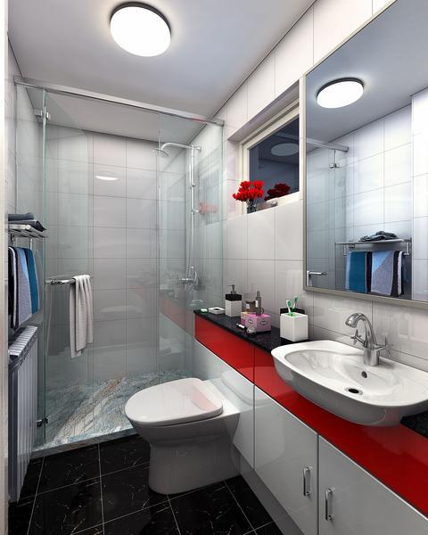 Nhà vệ sinh hiện đại và tiện dụng với hệ thống tủ chạy dọc tường.