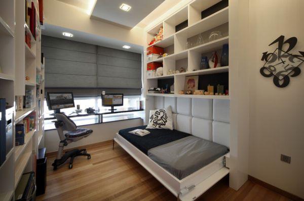 Sử dụng nội thất đa năng là giải pháp lý tưởng cho những không gian nhỏ hẹp. Chiếc giường ngủ khi không cần bạn có thể dễ dàng thu gọn lại nhường chỗ cho không gian làm việc và giải trí của bạn.