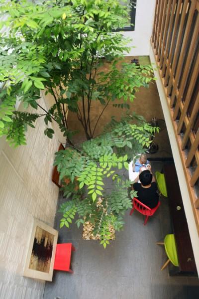 Với tổng diện tích khiêm tốn 40m2 nhưng chủ nhà sẵn sàng cắt lại 5 m2 mỗi tầng để làm giếng trời, đủ không gian và ánh sáng để trồng một cây khế và biến nó trở thành trung tâm của căn nhà.