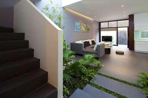 Cầu thang dẫn lên tầng 2 ẩn sau một bức tường và vườn cây nhỏ.