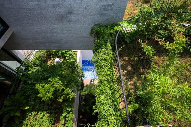Nhờ đặt lệch nhau theo phương thẳng đứng mà mỗi khu vườn đều nhận được nhiều nhất ánh sáng mặt trời, giúp cây cối xanh tươi.