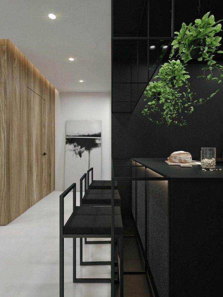 Góc bếp ăn còn được nhấn nhá bởi những giỏ cây dây leo tuyệt đẹp nổi bật trên nền đen.
