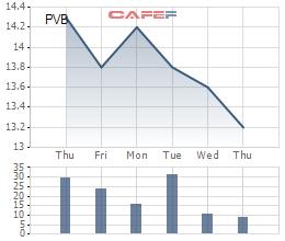 Diễn biến giá cổ phiếu PVB trong 1 tuần gần đây.