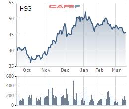 Diễn biến giá cổ phiếu HSG trong 6 tháng gần đây.