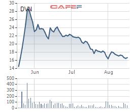 Cổ phiếu DVN dù mới lên sàn, đã tạo được sóng lớn.