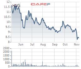 Diễn biến giá cổ phiếu HNG trong 6 tháng gần đây.