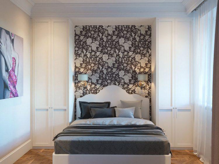 Đầu giường còn được tô điểm bằng giấy dán tường họa tiết hoa .