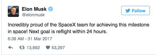 Vô cùng tự hào về đội ngũ SpaceX đã đạt được thành tựu quan trọng này trong lịch sử không gian! Mục tiêu tiếp theo là tái bay trong vòng 24 giờ.