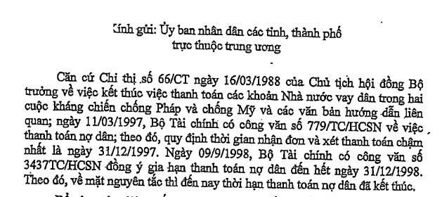 Văn bản Bộ Tài chính chỉ rõ các văn bản liên quan cũng các mốc thời gian