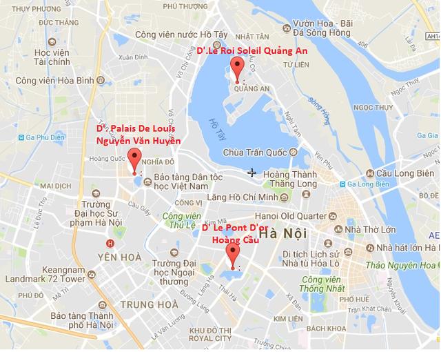 Cả ba dự án của Tân Hoàng Minh đều tọa lạc tại những khu vực đất vàng của Hà Nội.