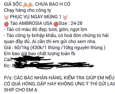 Một cá nhân bán hàng trên mạng Face book chào bán táo Mỹ với giá rẻ. Ảnh: L.V