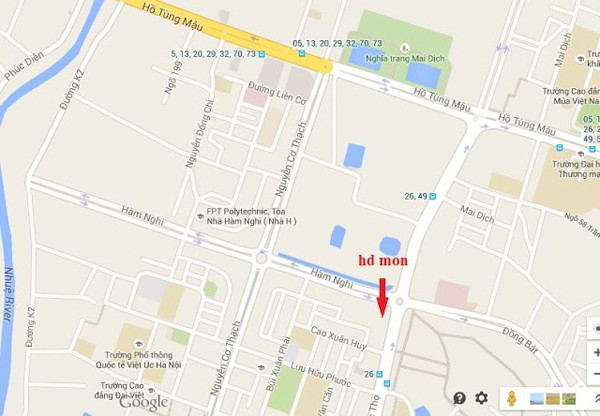 Dự án tọa lạc đoạn góc đường Hàm Nghi - Nguyễn Cơ Thạch.