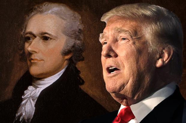 Tổng thống Donald Trump nhận được rất nhiều bài học từ vị tiền bối lập quốc Hamilton (nguồn ảnh: Internet).