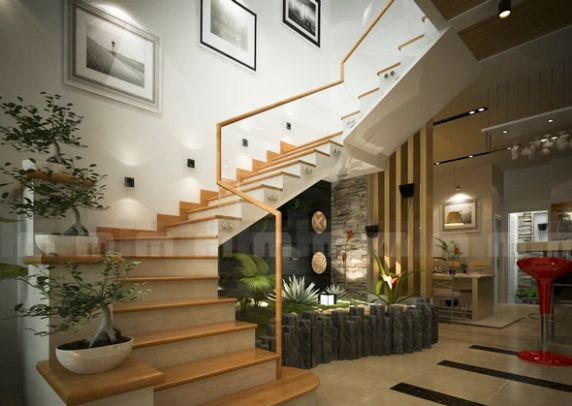 Cầu thang cong theo kiểu mềm mại được cho là tốt nhất.