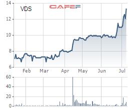 Diễn biến cổ phiếu VDS trong 6 tháng gần nhất trên sàn HNX