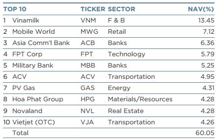 10 khoản đầu tư lớn nhất trong danh mục của VEIL tính đến 19/1