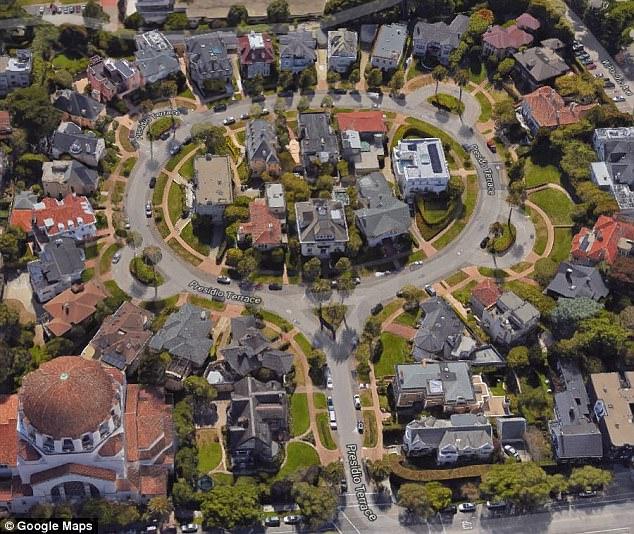 Presidio Terrace là một con phố hình bầu dục tuyệt đẹp với vỉa hè, lòng đường rộng thoáng tràn ngập cây xanh.
