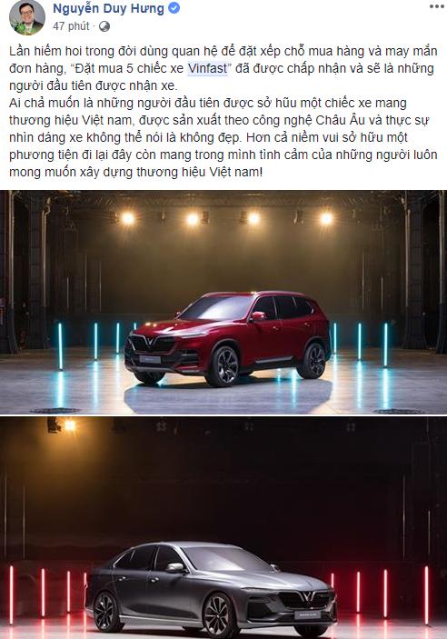 Một người Việt đã đặt mua 5 chiếc xe VinFast và được chấp nhận, sẽ là những người đầu tiên có xe - Ảnh 1.