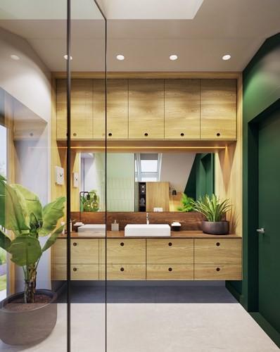 Tạo điểm nhấn ấn tượng cho ngôi nhà có màu xanh lá cây - Ảnh 8.
