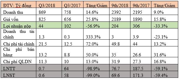 Gánh nặng chi phí, Đại Thiên Lộc (DTL) báo lãi chưa đến 1 tỷ đồng trong quý 3/2018 - Ảnh 1.