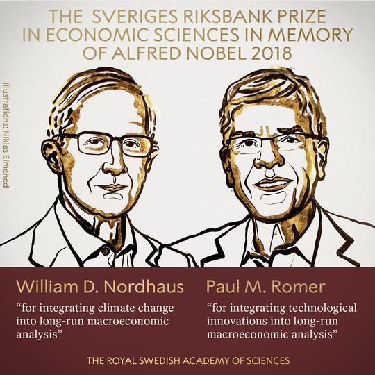 Nobel Kinh tế 2018 về tay hai người Mỹ - Ảnh 1.