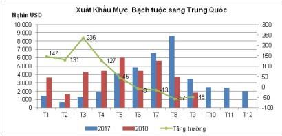 Xuất khẩu mực, bạch tuộc sang Trung Quốc sẽ tăng trưởng dương vào cuối năm - Ảnh 1.