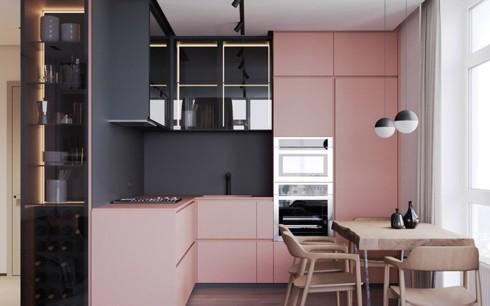 Phòng bếp ấm cúng có gam màu hồng - Ảnh 1.