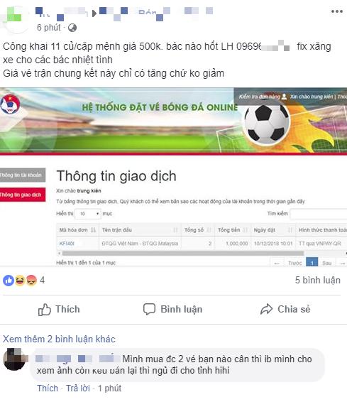 Vé chung kết lượt về AFF Cup 2018 Việt Nam - Malaysia xuất hiện tại chợ đen, giá lên tới...12 triệu đồng/cặp - Ảnh 1.