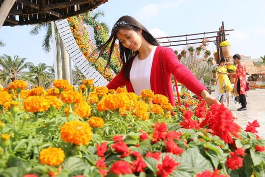 Khoác áo hoa ngày Tết, quảng trường Tam Kỳ đẹp lộng lẫy - Ảnh 7.