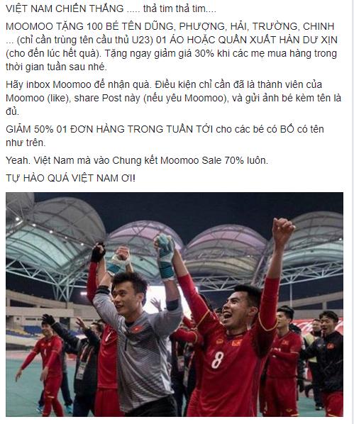 Hàng quán đua nhau giảm giá cổ vũ trận bán kết U23 Việt Nam - U23 Quatar - Ảnh 1.