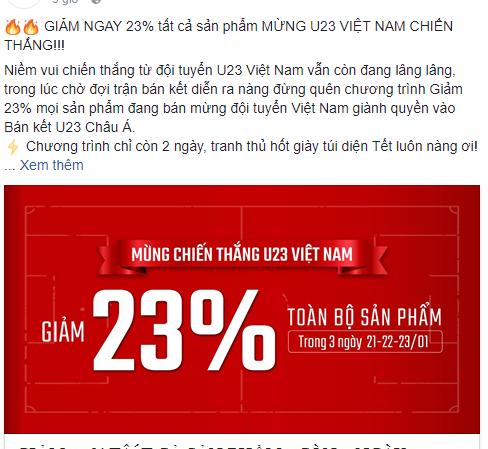 Hàng quán đua nhau giảm giá cổ vũ trận bán kết U23 Việt Nam - U23 Quatar - Ảnh 2.