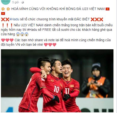 Nhiều cửa hàng chơi lớn khi free toàn bộ ăn mừng chiến thắng U23 Việt Nam - Ảnh 2.