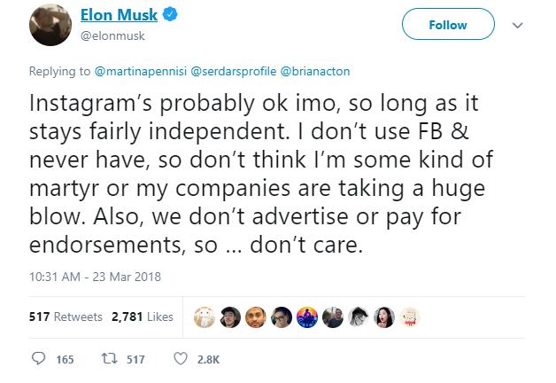 Elon Musk xóa hai trang Facebook chính thức của Tesla và SpaceX: Tôi không dùng Facebook và sẽ chẳng bao giờ dùng cả - Ảnh 7.
